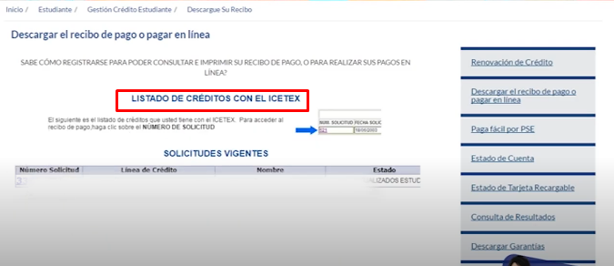 Descargar Recibo ICETEX