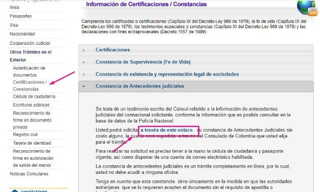 certificado de pasado judicial